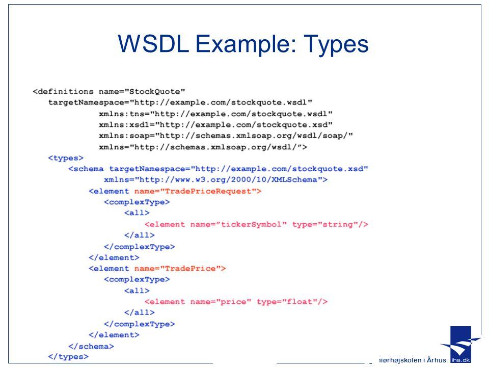 Ingeniørhøjskolen i Århus Slide 36 af 51 WSDL Example: Types