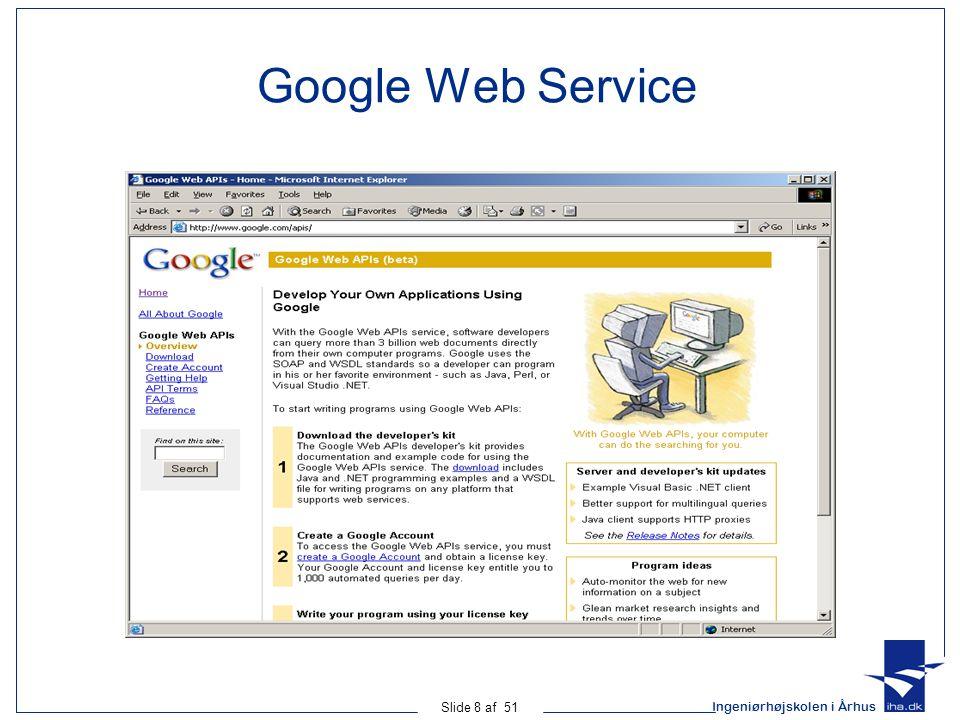 Ingeniørhøjskolen i Århus Slide 8 af 51 Google Web Service