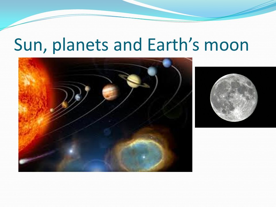 Sun, planets and Earth's moon