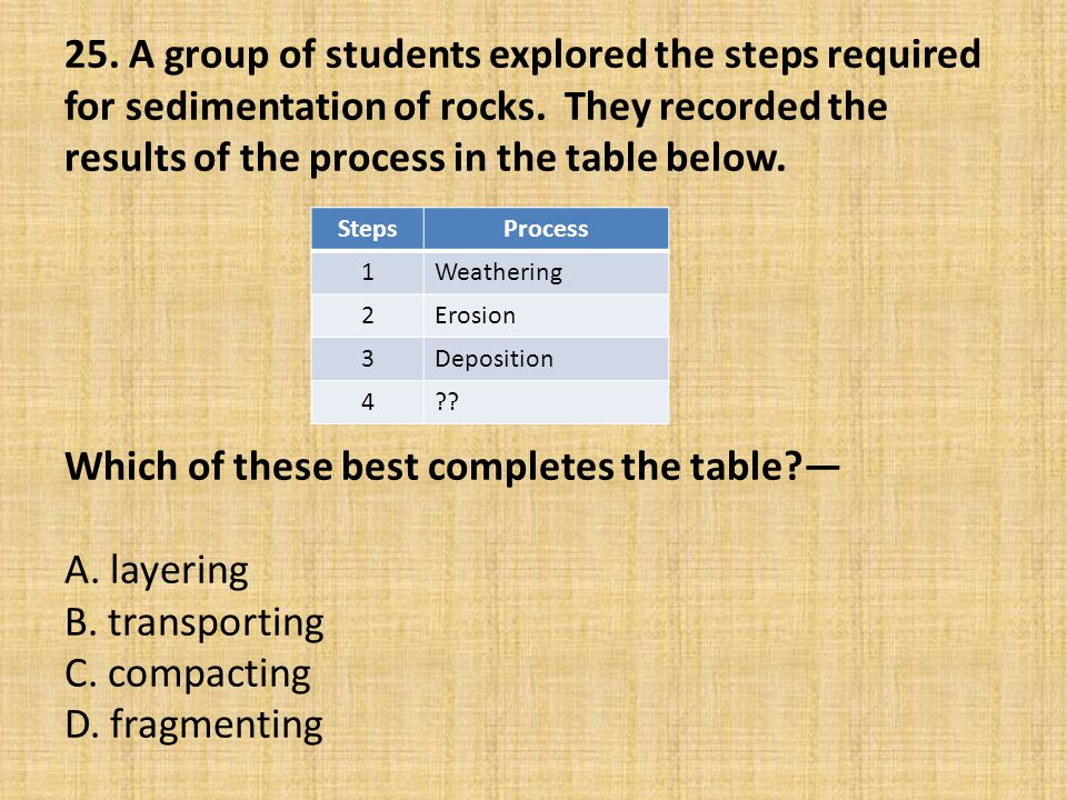 25. A group of students explored the steps required for sedimentation of rocks. They recorded the results of the process in the table below. Which of