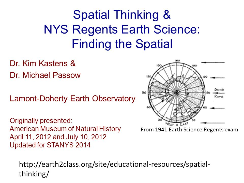 Spatial Thinking & NYS Regents Earth Science: Finding the Spatial Dr.
