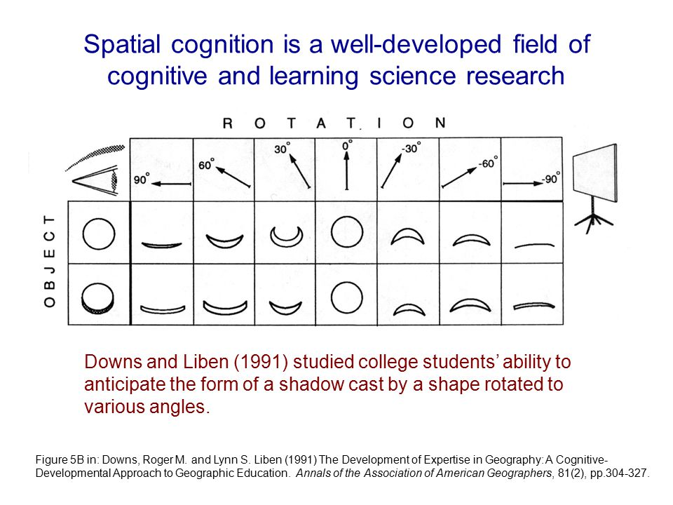 Spatial cognition is a well-developed field of cognitive and learning science research Downs and Liben (1991) studied college students' ability to anticipate the form of a shadow cast by a shape rotated to various angles.