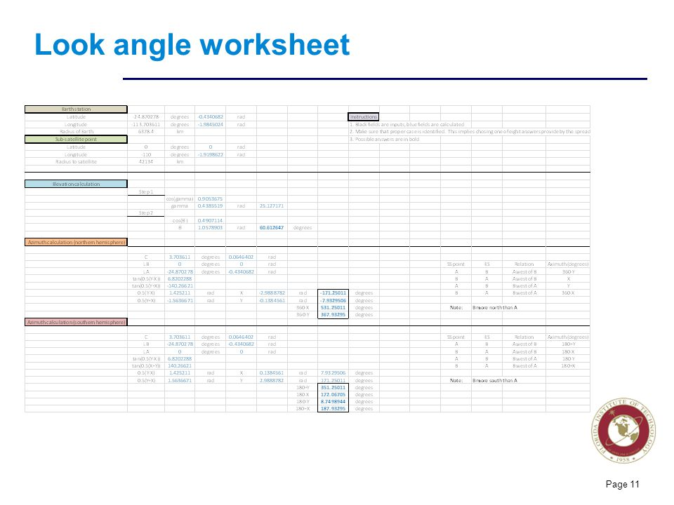 Florida Institute of technologies Look angle worksheet Page 11