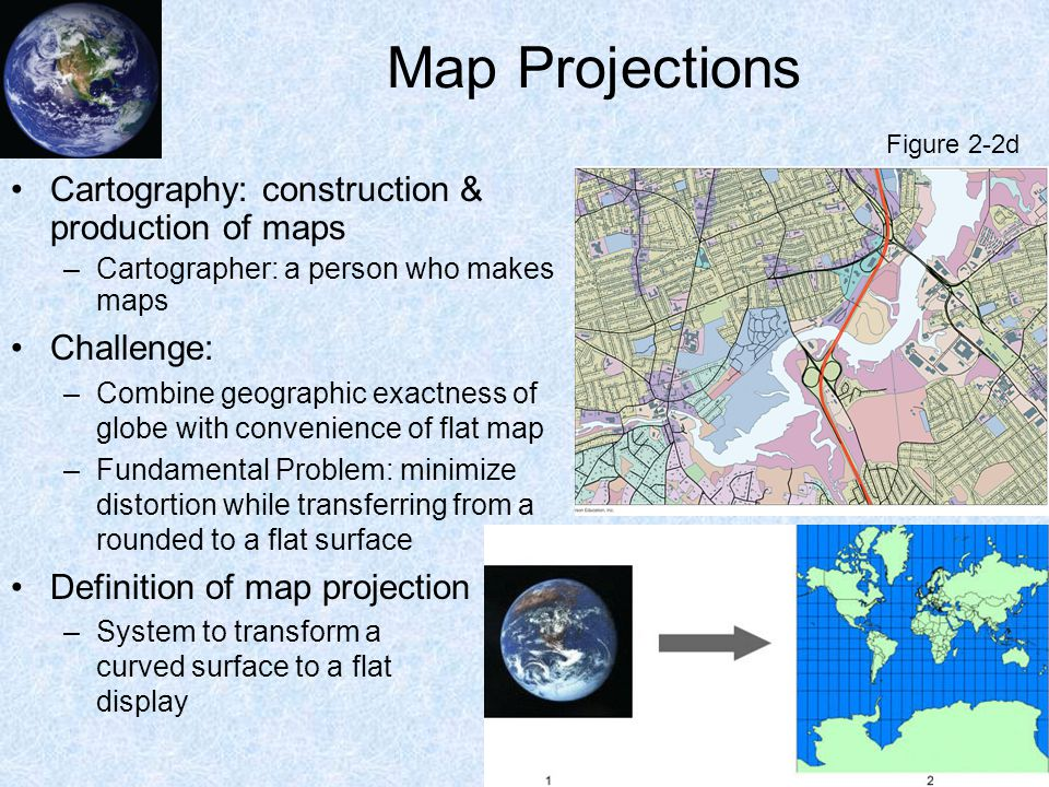 Map Projections Cartography: construction & production of maps –Cartographer: a person who makes maps Challenge: –Combine geographic exactness of glob