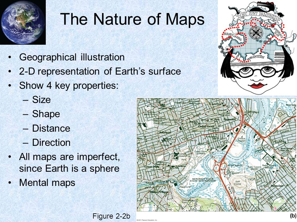 Map Scale Maps are always smaller than the area they represent Scale is the relationship between area on map to same area on Earth 3 types –Fractional Ratio or fraction to compare map distance to Earth distance –Graphic Line marked off with distances –Verbal Words tell ratio of map distance to Earth distance Figure 2-3 Figure 2-4