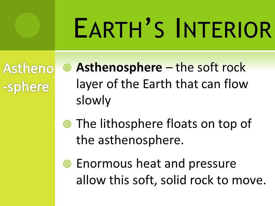 E ARTH ' S I NTERIOR Crust Mantle Core Lithosphere (rigid) Asthenosphere (plastic)