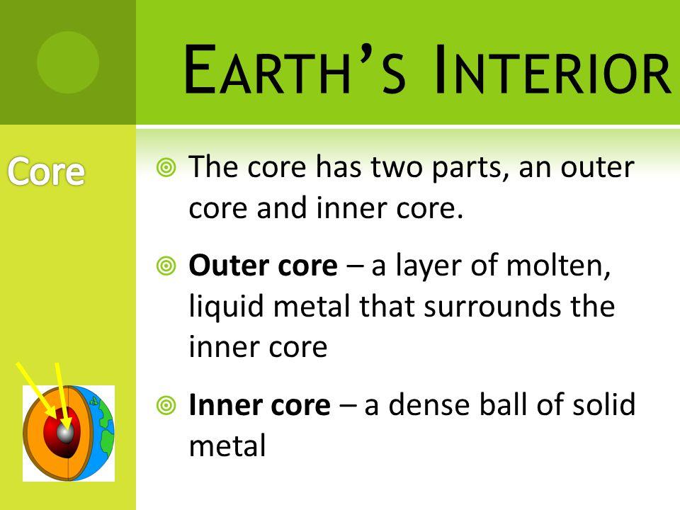 E ARTH ' S I NTERIOR Crust Mantle Core Lithosphere (rigid) Asthenosphere (plastic) Mesosphere (rigid) Outer Core (liquid) Inner Core (solid)