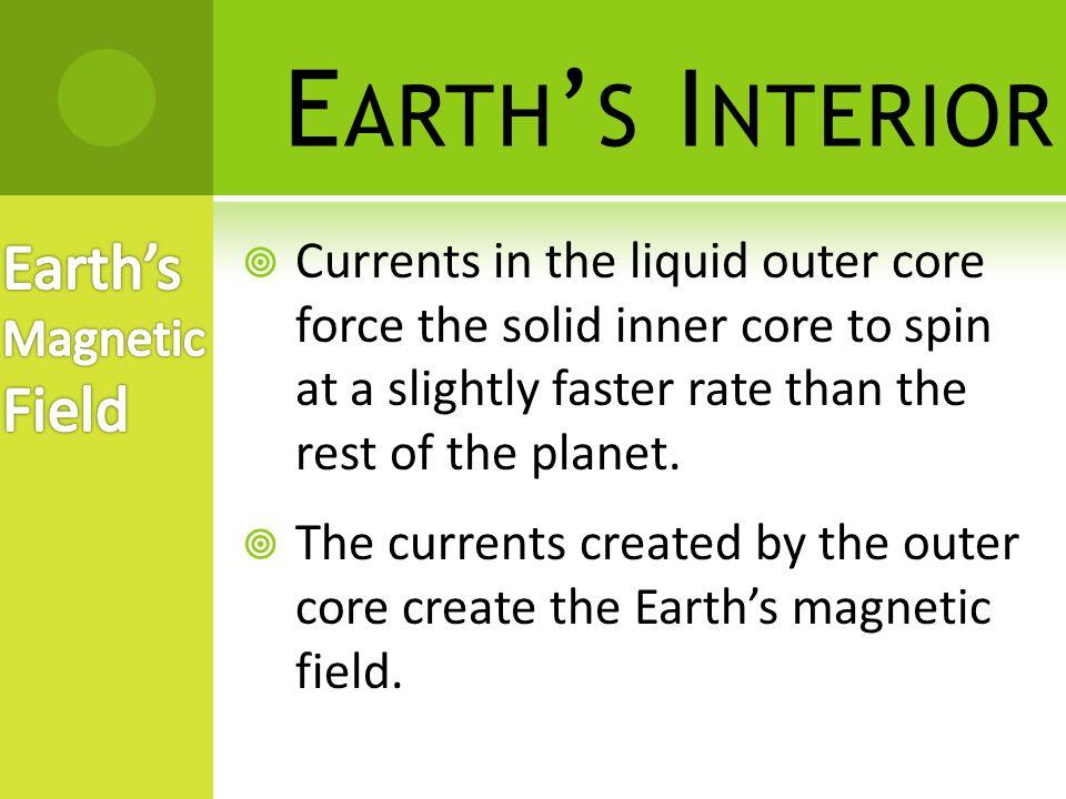 E ARTH ' S I NTERIOR  The Earth acts like a giant bar magnet.