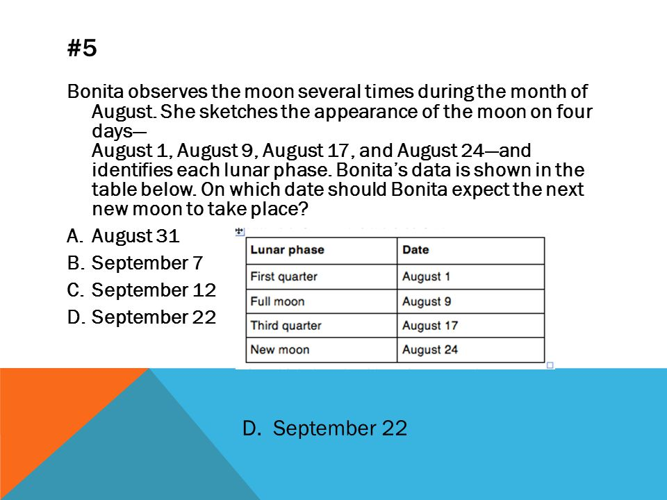 #5 Bonita observes the moon several times during the month of August.