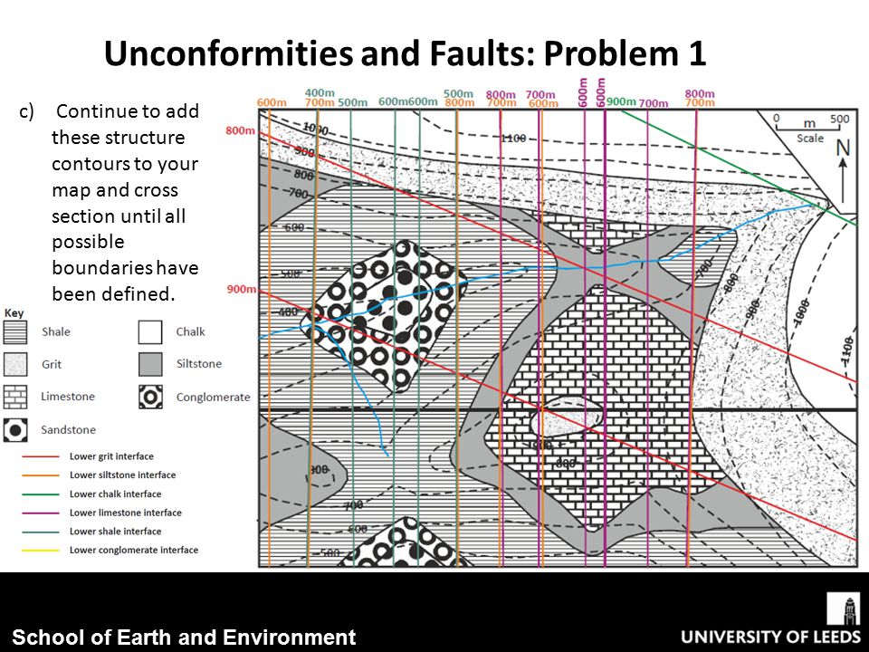 School of Earth and Environment c) Continue to add these structure contours to your map and cross section until all possible boundaries have been defined.