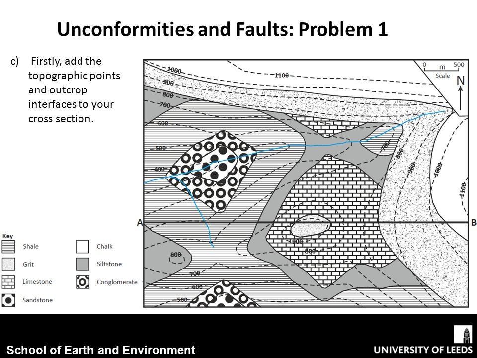 School of Earth and Environment Unconformities and Faults: Problem 1 c) Firstly, add the topographic points and outcrop interfaces to your cross section.