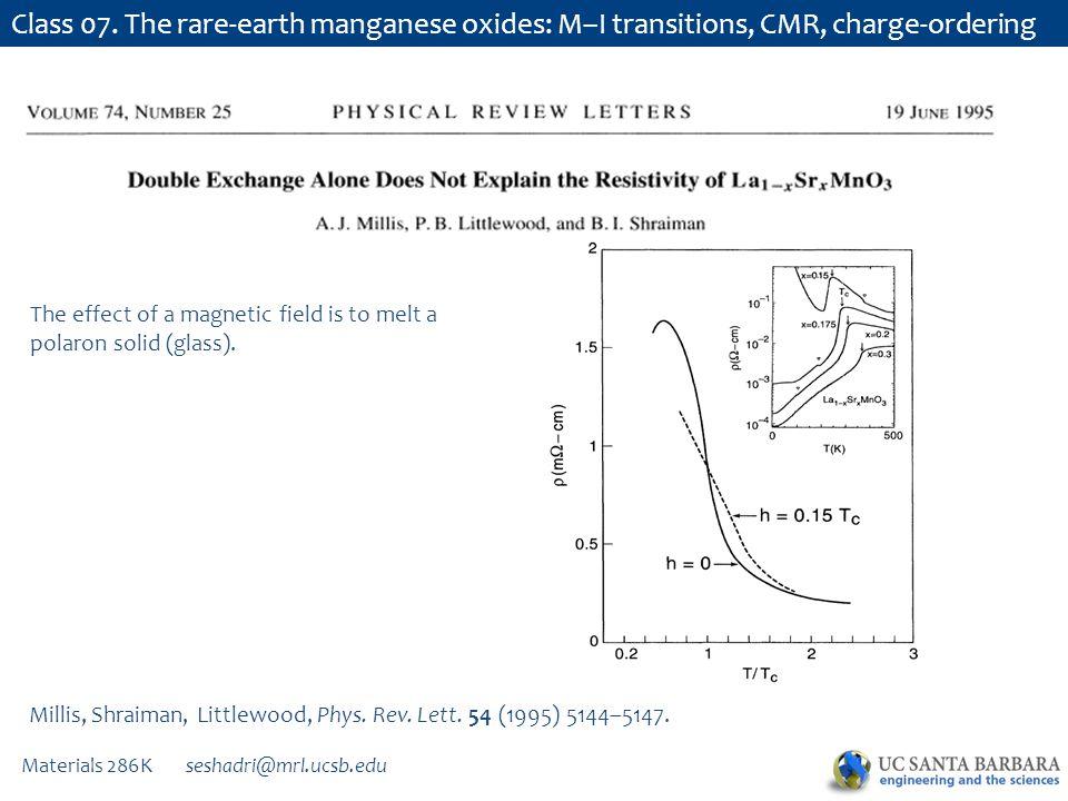 Materials 286K seshadri@mrl.ucsb.edu Class 07. The rare-earth manganese oxides: M–I transitions, CMR, charge-ordering Millis, Shraiman, Littlewood, Ph