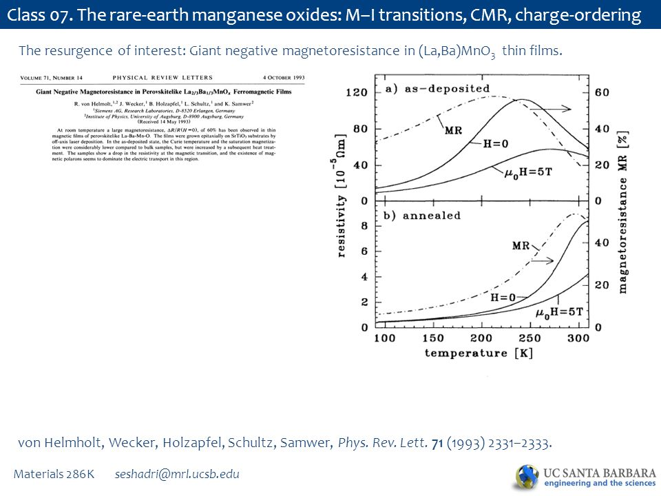 Materials 286K seshadri@mrl.ucsb.edu Class 07. The rare-earth manganese oxides: M–I transitions, CMR, charge-ordering von Helmholt, Wecker, Holzapfel,