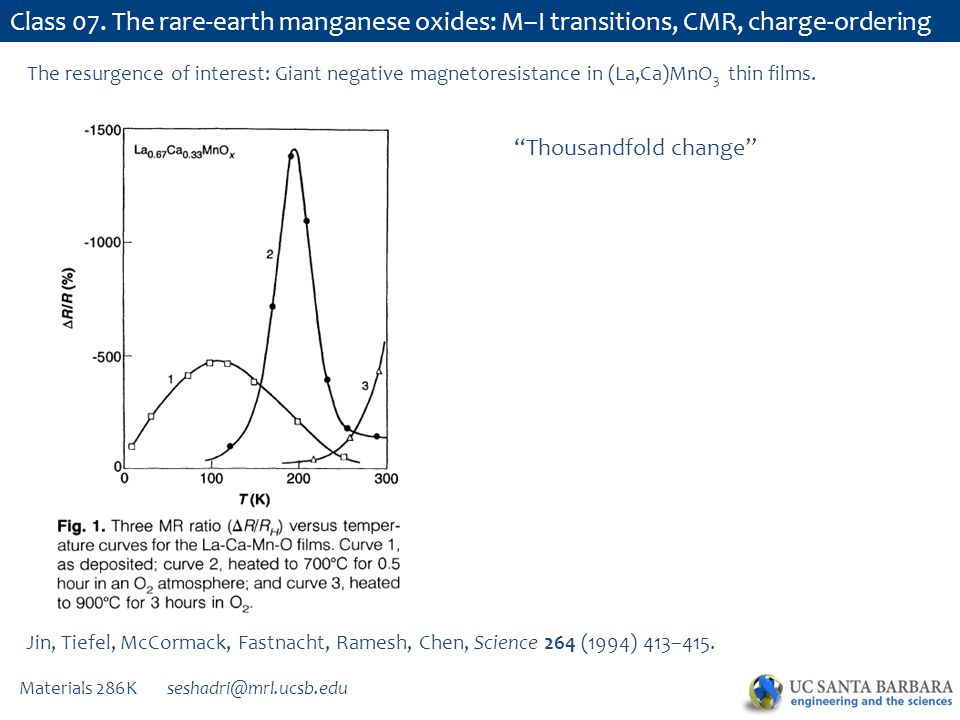 Materials 286K seshadri@mrl.ucsb.edu Class 07. The rare-earth manganese oxides: M–I transitions, CMR, charge-ordering Jin, Tiefel, McCormack, Fastnach