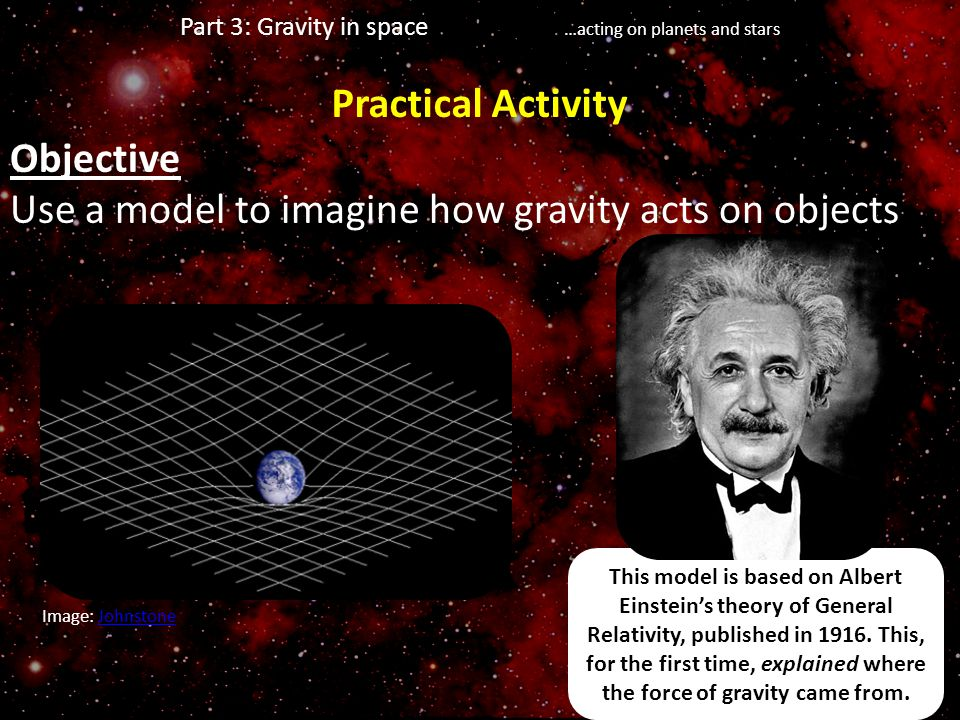 This model is based on Albert Einstein's theory of General Relativity, published in 1916. This, for the first time, explained where the force of gravi