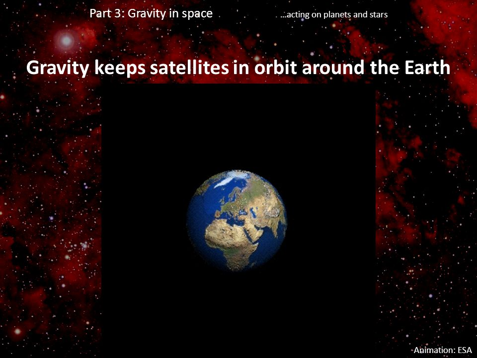Gravity keeps satellites in orbit around the Earth Animation: ESA