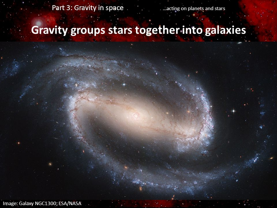 Part 3: Gravity in space …acting on planets and stars Gravity groups stars together into galaxies Image: Galaxy NGC1300; ESA/NASA