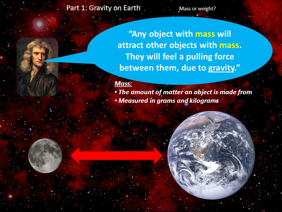 """Any object with mass will attract other objects with mass. They will feel a pulling force between them, due to gravity."" Mass: The amount of matter a"