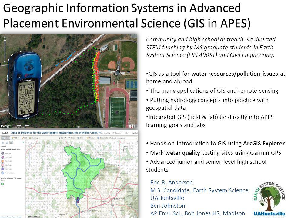 Geographic Information Systems in Advanced Placement Environmental Science (GIS in APES) Eric R. Anderson M.S. Candidate, Earth System Science UAHunts