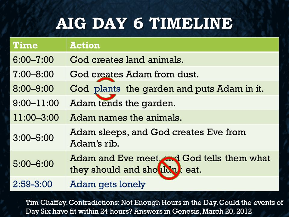 AIG DAY 6 TIMELINE TimeAction 6:00–7:00God creates land animals.