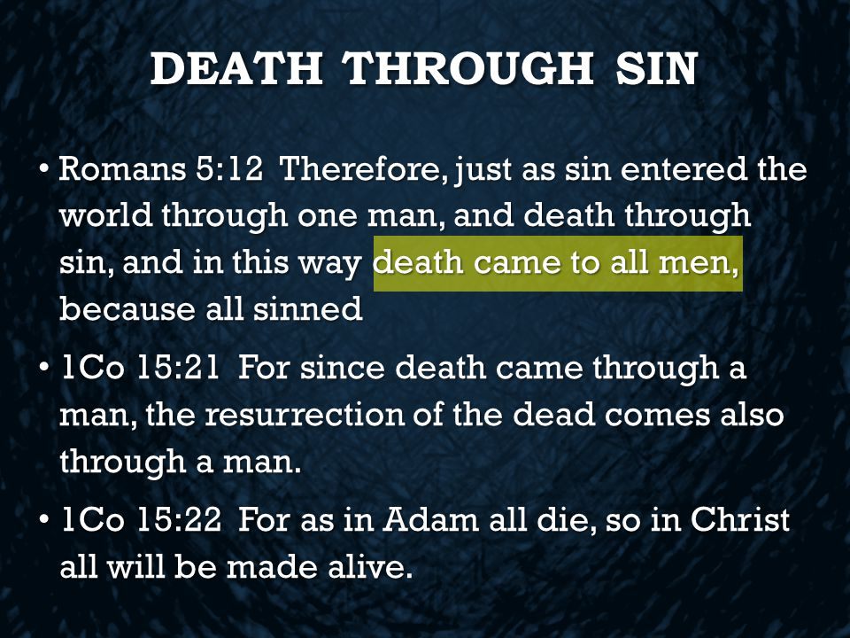 DEATH THROUGH SIN Romans 5:12 Therefore, just as sin entered the world through one man, and death through sin, and in this way death came to all men, because all sinned Romans 5:12 Therefore, just as sin entered the world through one man, and death through sin, and in this way death came to all men, because all sinned 1Co 15:21 For since death came through a man, the resurrection of the dead comes also through a man.