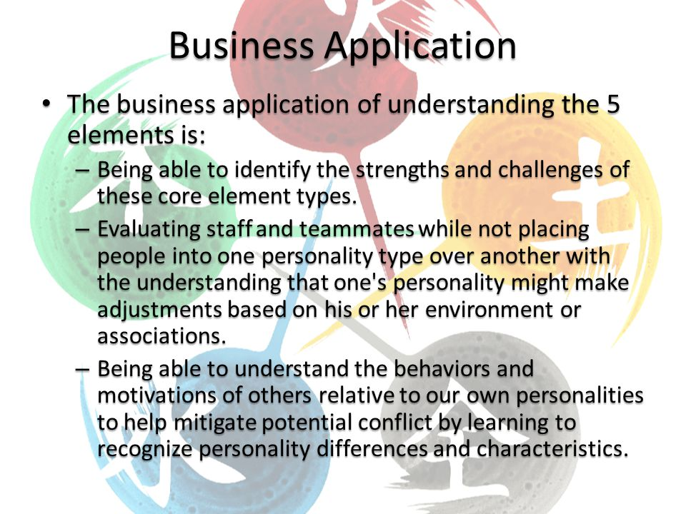 Business Application The business application of understanding the 5 elements is: The business application of understanding the 5 elements is: – Being able to identify the strengths and challenges of these core element types.