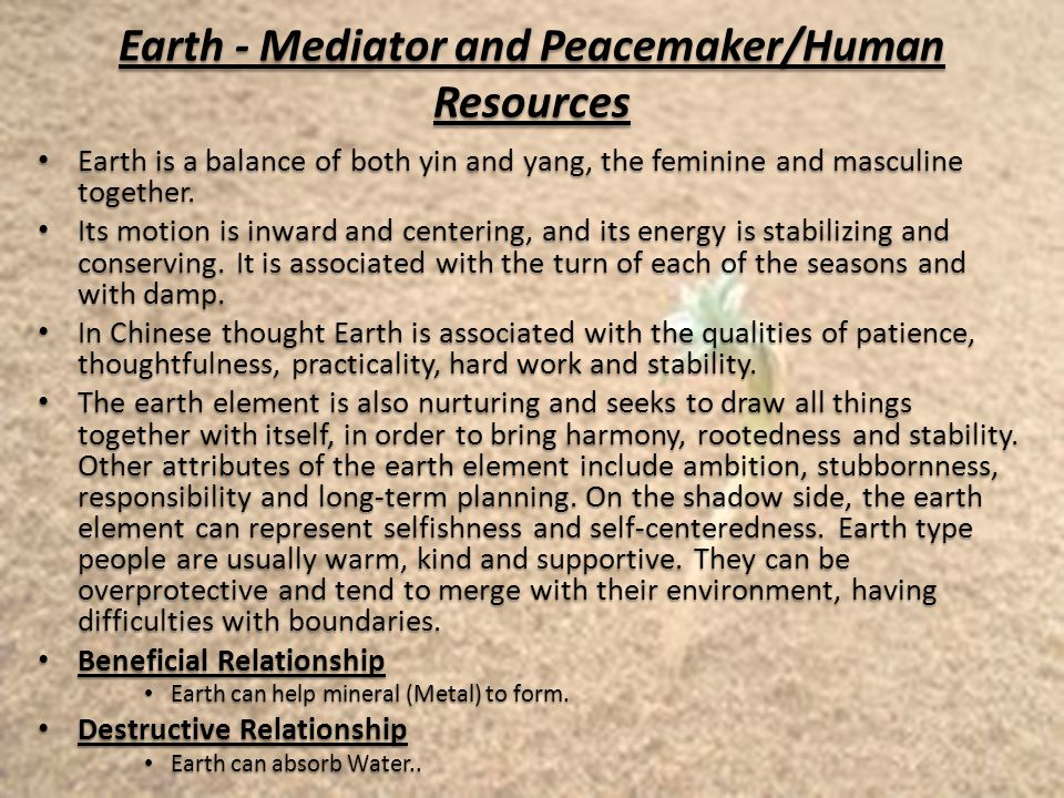 Earth - Mediator and Peacemaker/Human Resources Earth is a balance of both yin and yang, the feminine and masculine together.