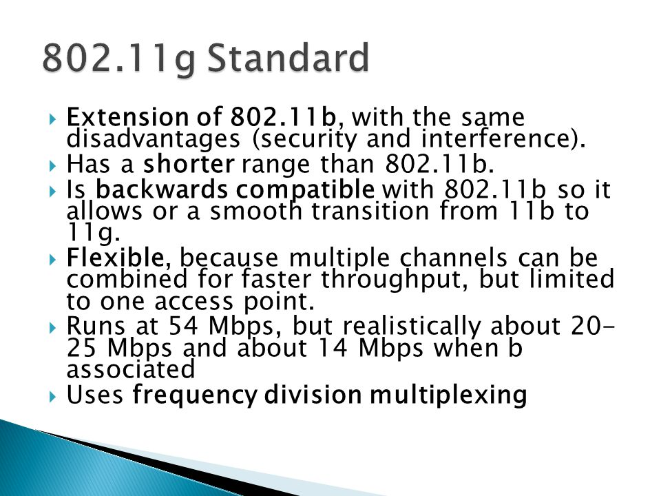  Extension of 802.11b, with the same disadvantages (security and interference).