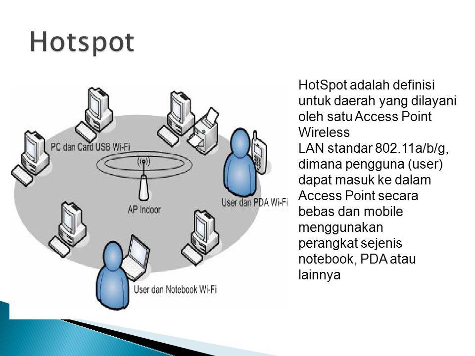 HotSpot adalah definisi untuk daerah yang dilayani oleh satu Access Point Wireless LAN standar 802.11a/b/g, dimana pengguna (user) dapat masuk ke dalam Access Point secara bebas dan mobile menggunakan perangkat sejenis notebook, PDA atau lainnya