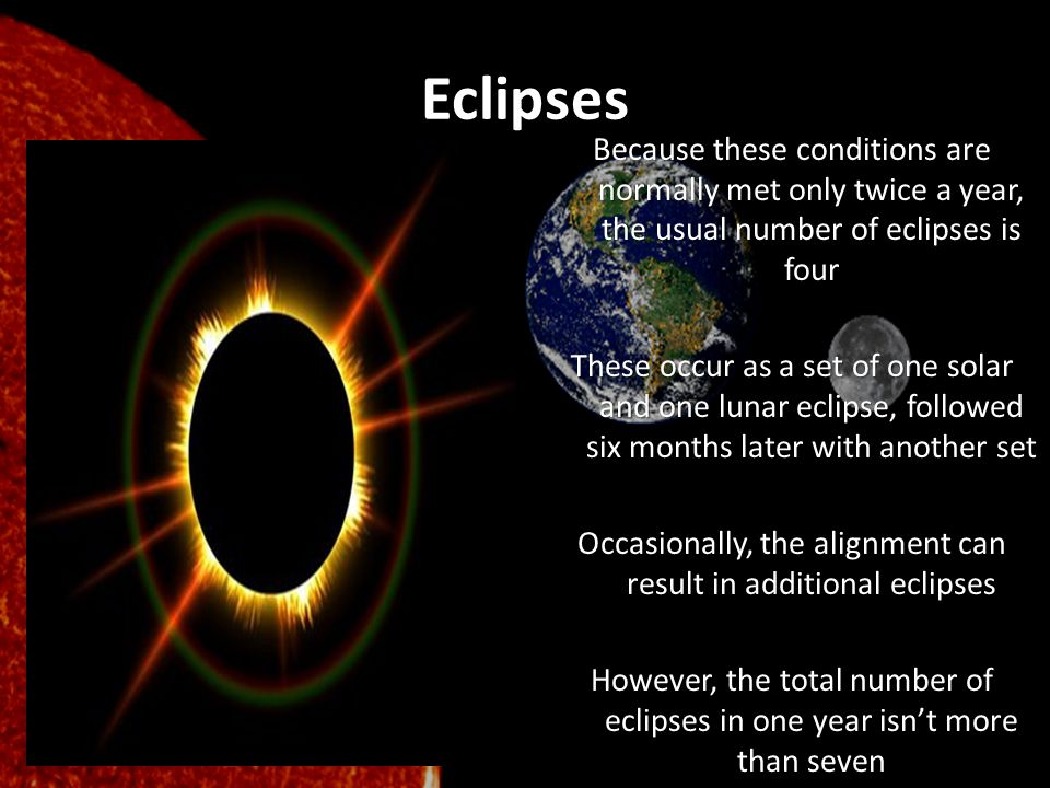 Eclipses Because these conditions are normally met only twice a year, the usual number of eclipses is four These occur as a set of one solar and one l