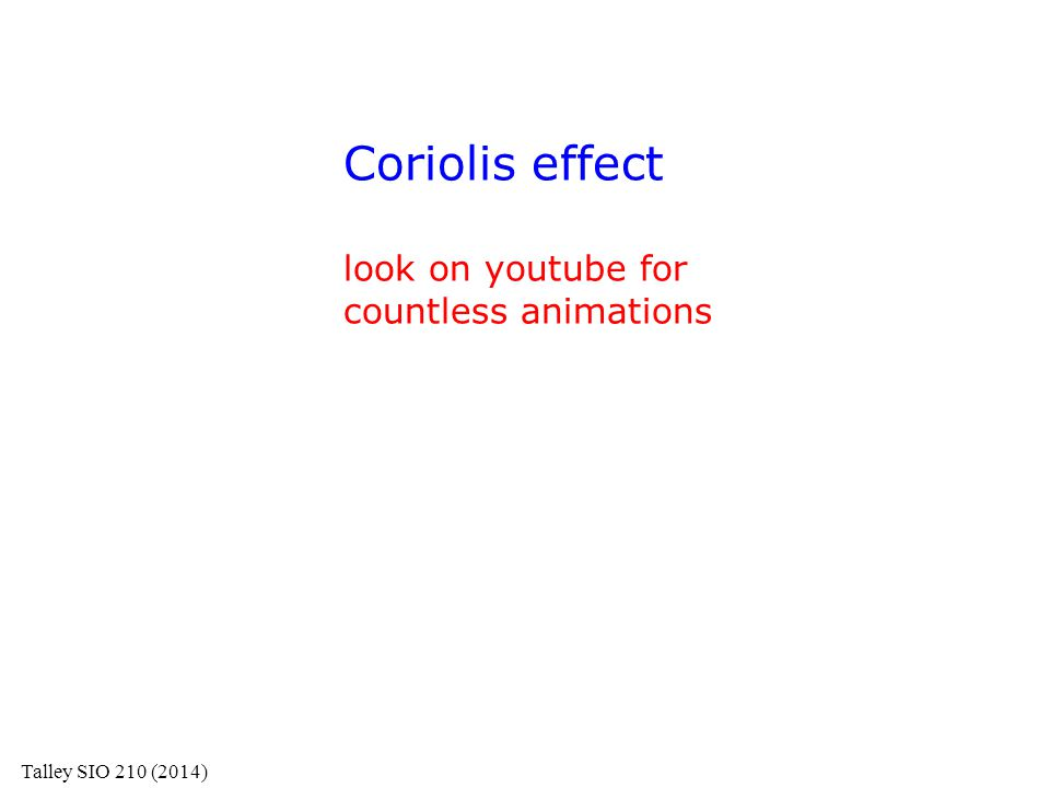 Coriolis effect look on youtube for countless animations Talley SIO 210 (2014)