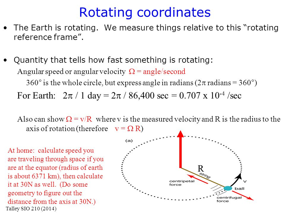 "Rotating coordinates The Earth is rotating. We measure things relative to this ""rotating reference frame"". Quantity that tells how fast something is r"