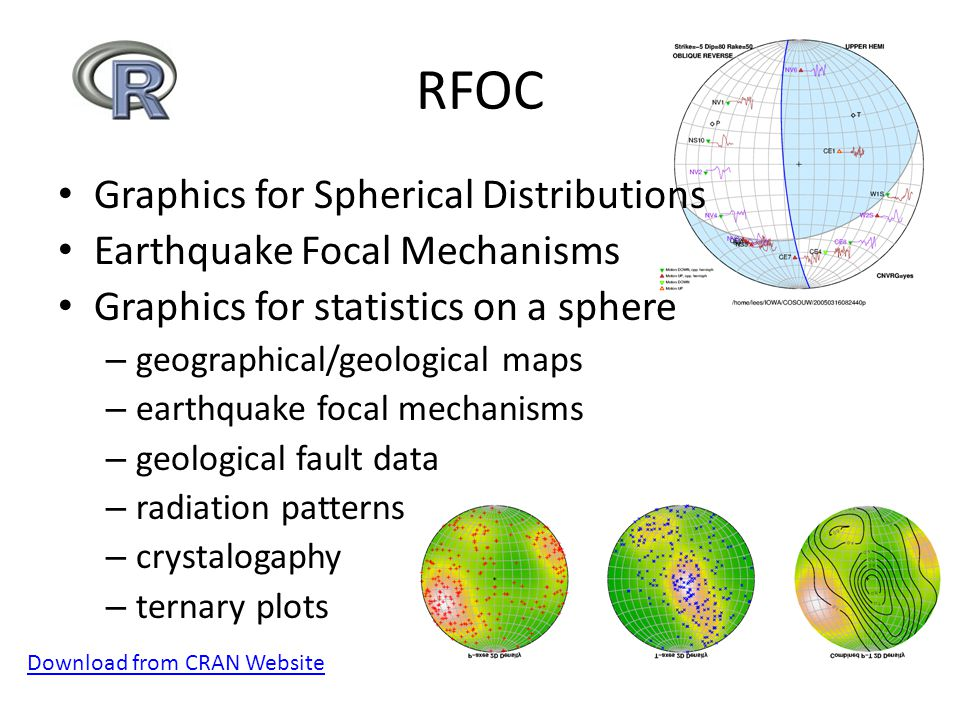 RFOC Graphics for Spherical Distributions Earthquake Focal Mechanisms Graphics for statistics on a sphere – geographical/geological maps – earthquake focal mechanisms – geological fault data – radiation patterns – crystalogaphy – ternary plots Download from CRAN Website