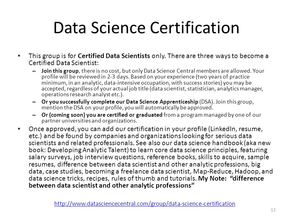 Data Science Certification This group is for Certified Data Scientists only.
