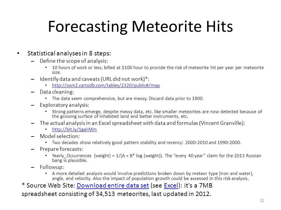 Forecasting Meteorite Hits Statistical analyses in 8 steps: – Define the scope of analysis: 10 hours of work or less, billed at $100 hour to provide the risk of meteorite hit per year per meteorite size.
