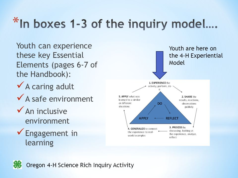 Oregon 4-H Science Rich Inquiry Activity Youth can experience these key Essential Elements (pages 6-7 of the Handbook): A caring adult A safe environment An inclusive environment Engagement in learning Youth are here on the 4-H Experiential Model
