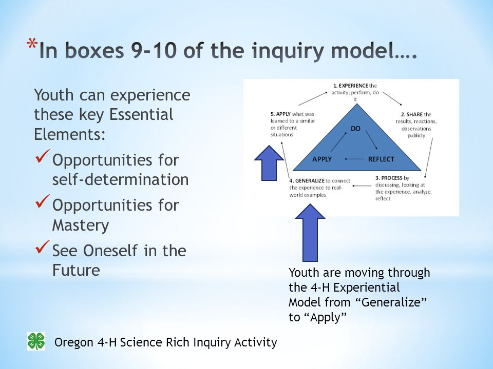 Oregon 4-H Science Rich Inquiry Activity Youth can experience these key Essential Elements: Opportunities for self-determination Opportunities for Mastery See Oneself in the Future Youth are moving through the 4-H Experiential Model from Generalize to Apply