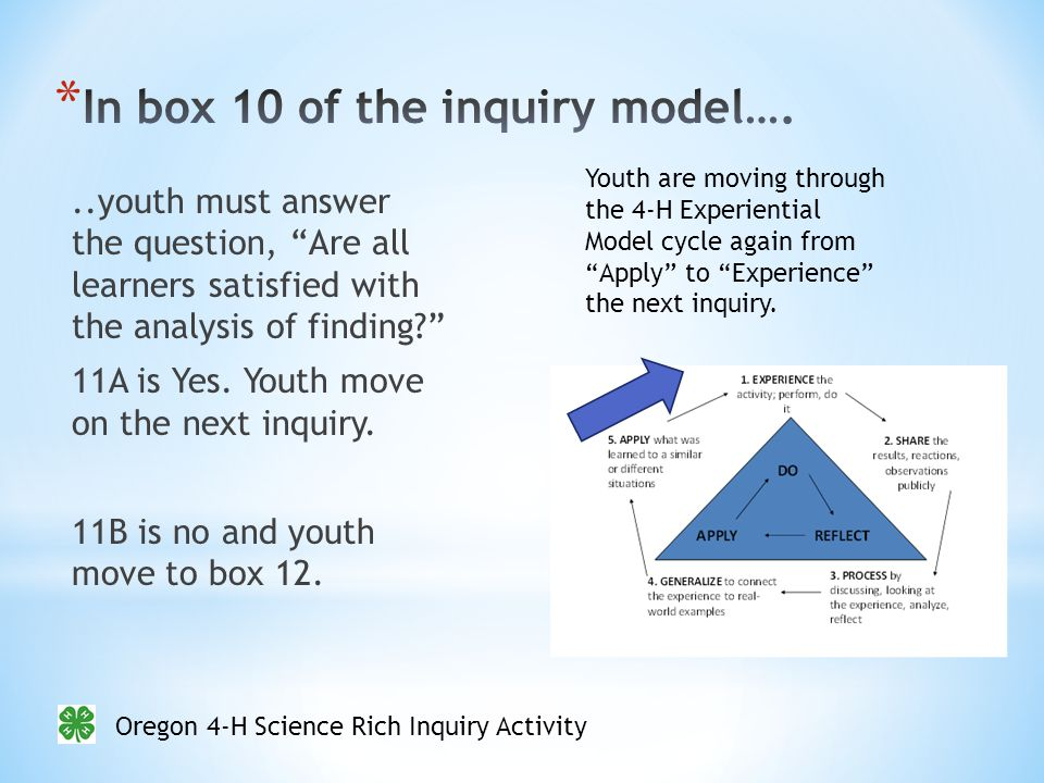 Oregon 4-H Science Rich Inquiry Activity..youth must answer the question, Are all learners satisfied with the analysis of finding 11A is Yes.