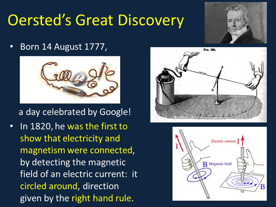 Oersted's Great Discovery Born 14 August 1777, a day celebrated by Google! In 1820, he was the first to show that electricity and magnetism were conne