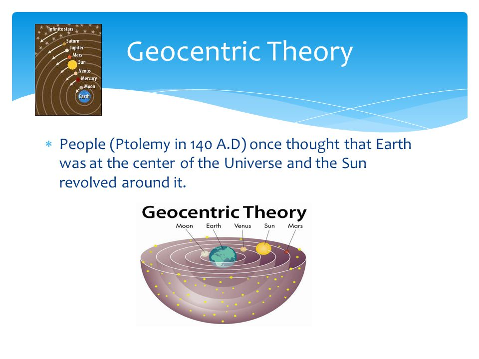  People (Ptolemy in 140 A.D) once thought that Earth was at the center of the Universe and the Sun revolved around it. Geocentric Theory