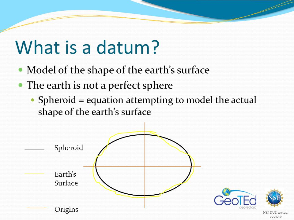 NSF DUE-1205110; 0903270 What is a datum? Model of the shape of the earth's surface The earth is not a perfect sphere Spheroid = equation attempting t