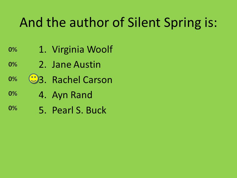 And the author of Silent Spring is: 1.Virginia Woolf 2.Jane Austin 3.Rachel Carson 4.Ayn Rand 5.Pearl S.