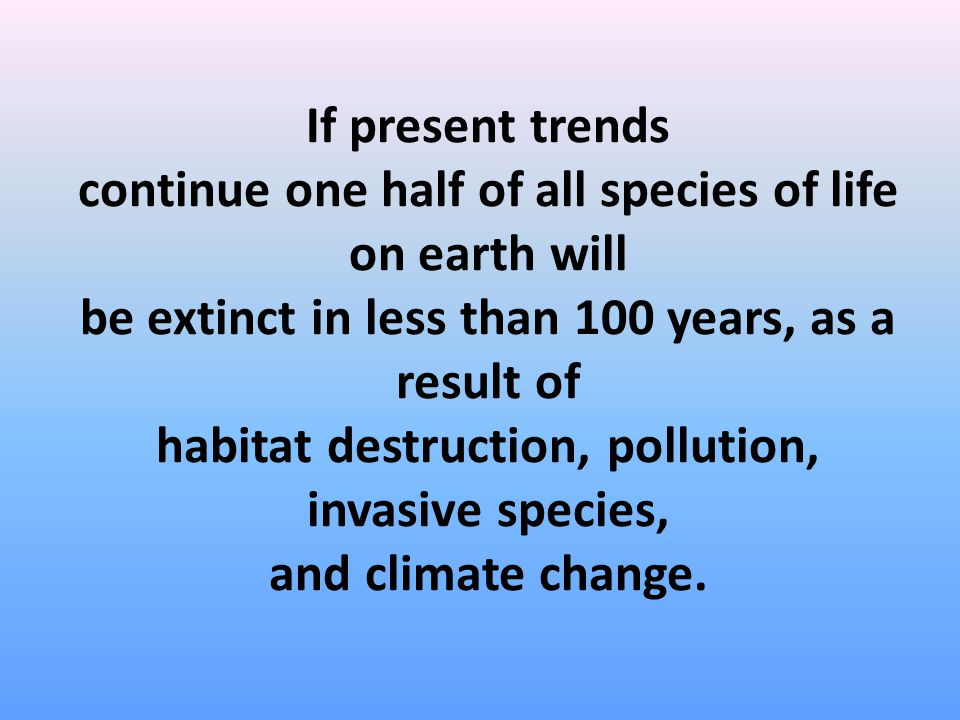 If present trends continue one half of all species of life on earth will be extinct in less than 100 years, as a result of habitat destruction, pollut