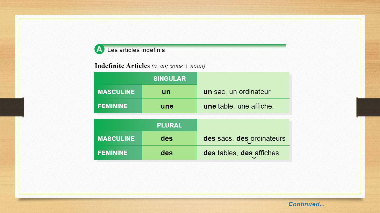 A Les articles indefinis Indefinite Articles (a, an; some + noun) MASCULINE FEMININE unun sac, un ordinateur SINGULAR uneune table, une affiche.