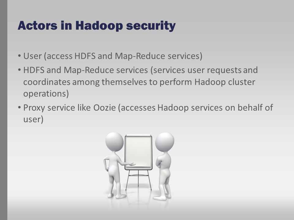 Actors in Hadoop security User (access HDFS and Map-Reduce services) HDFS and Map-Reduce services (services user requests and coordinates among themse
