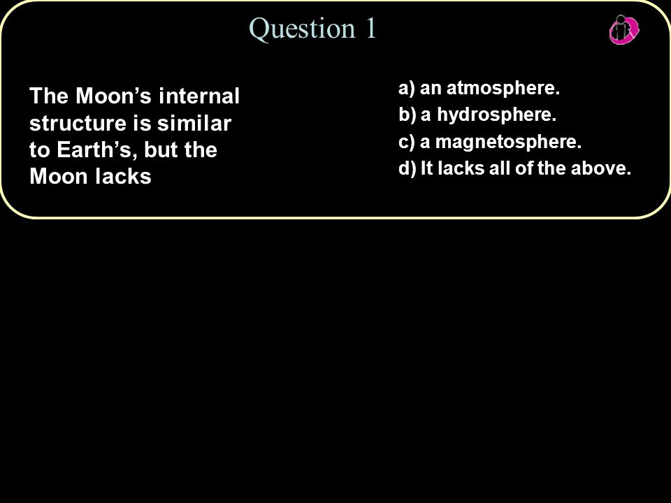Question 3 a) the Sun's gravity b) Earth's magnetic field c) Earth's tidal force d) the solar wind e) the Moon's magnetic field What force riveted the Moon's near side to constantly face Earth?