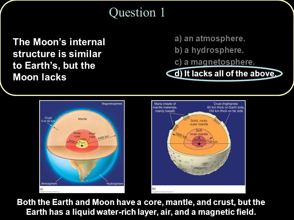Question 7 Lunar maria are found a) uniformly all over the Moon.