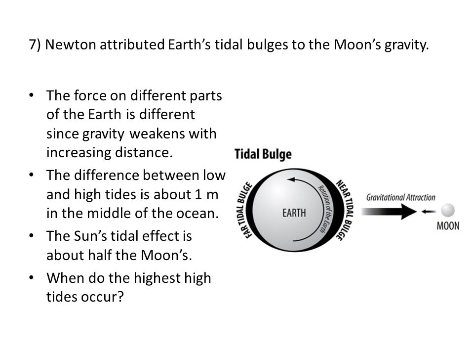 7) Newton attributed Earth's tidal bulges to the Moon's gravity. The force on different parts of the Earth is different since gravity weakens with inc