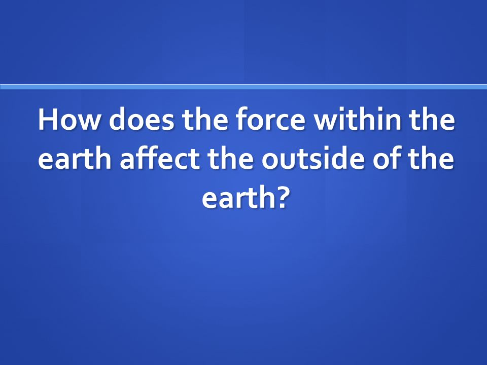 How does the force within the earth affect the outside of the earth?