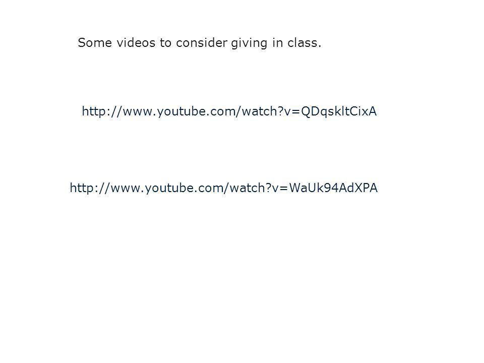http://www.youtube.com/watch v=QDqskltCixA http://www.youtube.com/watch v=WaUk94AdXPA Some videos to consider giving in class.